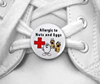 Allergies to NUTS and EGGS Medical Alert Pair of 1 inch Shoe Tag Charms by Creative Clam