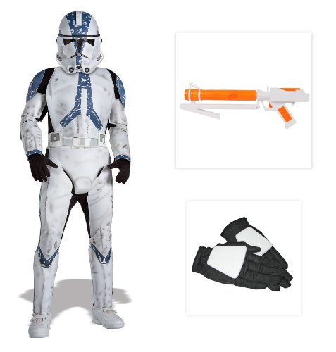 Star Wars Clone Trooper Deluxe Child Costume including Gloves and Blaster - Medium