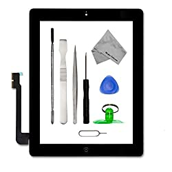 IPAD 3 BLACK Digitizer Touch Screen Front Display Glass Assembly - Includes Home Button and flex + Camera Holder + Pre Installed Adhesive Stickers and Professional Tool kit for easy installation now also incl. Bezel Frame