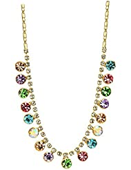 Wearyourfashion Multicolour Swarovski Elements 14K Gold Plated Multi Crystals Pendant Necklace For Women
