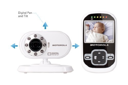 Motorola Mbp26 Wireless 2.4 Ghz Video Baby Monitor With 2.4 Color Lcd Screen, Infrared Night Vision And Remote Camera Pan And Tilt