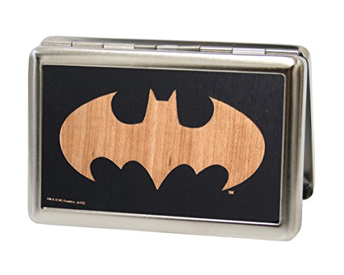 DC Comics Batman - Batman Logo Black & Light Wood Design - Metal Multi-Use Wallet Business Card Holder (Business Card Holder Shark compare prices)
