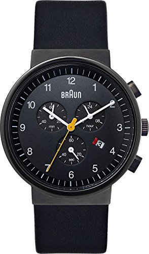 Braun Men's Quartz Watch with Black Dial Analogue Display and Black Leather Strap