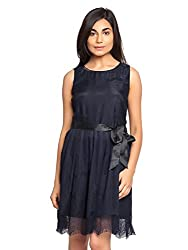 Black Color A Line Dress with Black Lace and Black Satin Belt for Party Wear