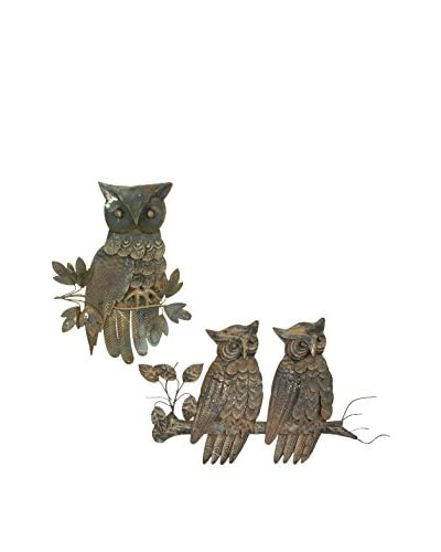 Uptown Down Vintage Owl Wall Hangings, Brass