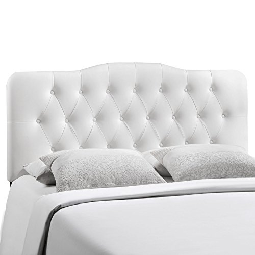 Modway Annabel Full Upholstered Vinyl Headboard in White (Full Bed With Tufted Headboard compare prices)
