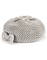 Sequin Embellished Bow Knitted Beret Hat