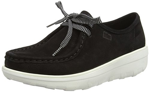 FitflopLoaff Lace-Up Moc - Brogue donna , Nero (Black (Black 001)), 38