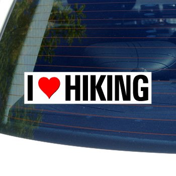 I Love Heart HIKING - Window Bumper Sticker