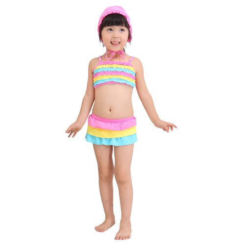 Your Gallery Your Gallery Cute Colorful Ruffle Rainbow Girl'S Swimwear Bikini Bathing Beach Suit, 3T (90-100Cm) front-881737