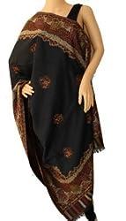 matelco black woollen polyster shawl