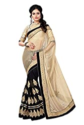 Nilkanth Enterprise Black And Beige Embroidered Lace Saree