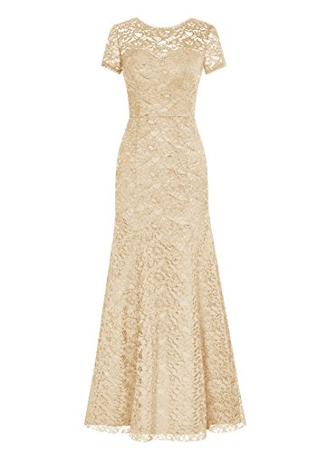 3fba8efdef613 Dresstells® Long Lace Bridesmaid Dress Short Sleeved Evening Party Dress  Champagne Size 6