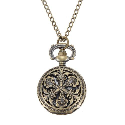 Vintage Copper Bronze Engraved Quartz Pocket Watch Pendant Necklace. (Name Brand Beer Tap Handles compare prices)