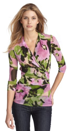 Karen Kane Women's Three-Fourth Sleeve Wrap Top,Floral,X-Large