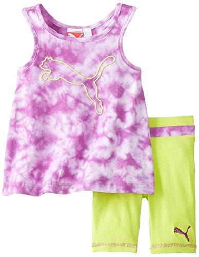 Puma - Kids Baby Girls Infant Tie Dye Biker Set, Purple Cactus Flower, 12 Months front-1064560