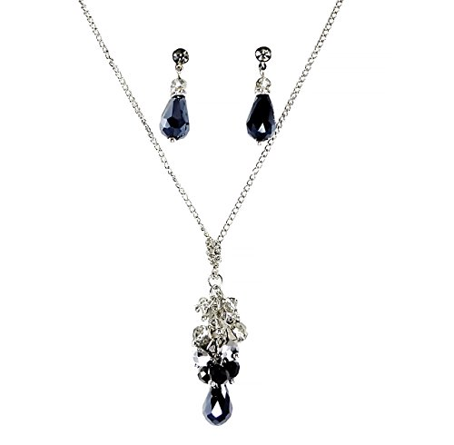 C.A.K.E By Ali Khan Jewelry Set, Silver-Tone Jet Black Glass Crystal Cluster Bead Y-Necklace And Drop Earrings Set