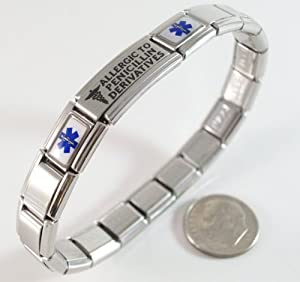 Allergic to Penicillin Derivatives Medical ID Alert Italian Charm Bracelet Allergy