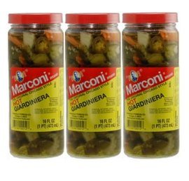 Marconi - The Original Chicago Style Hot Giardiniera - 16 oz (Pack of 3)