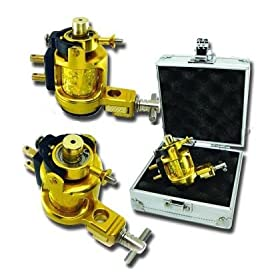 Brand New Light Weighted Gold Rotary Tattoo Machine ( Silver Machine Case Include )