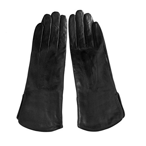MATSU Women Winter Warm Lambskin Leather Nylon lined 100% Cashmere lined Touchscreen Gloves 5 Colors M9906 (L, Black-815N)