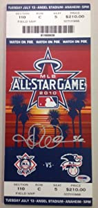 Jered Weaver Autograph PSA DNA All Star Game 2010 Ticket Placard Anaheim Angels...