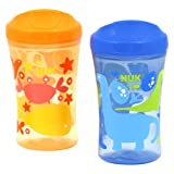 NUK Gerber Graduates Learning System Animal 2 Pack Spout Learning Cup, Blue/Orange, 10-Ounce