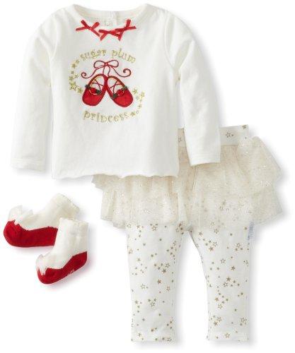 Vitamins Baby-Girls Newborn 3 Piece Skegging Set Sugar Plum Princess, White, 9 Months