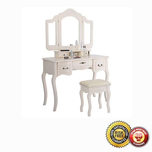 New Tri Folding Vintage White Vanity Makeup Dressing Table Set 5 Drawers &stool 4