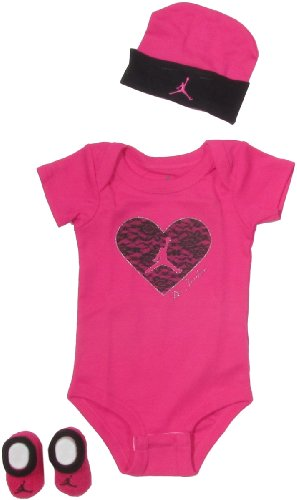 Jordan Baby Clothes Lace Heart Set for Baby Girls (One Size 0-6 Months) Pink, 0-6 Months