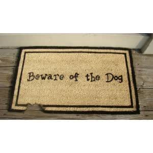 Kempf Beware of The Dog Doormat, Rubber Backed, 18 by 30 by 0.5-Inch