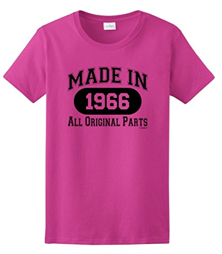 50th Birthday Gift Made 1966 All Original Parts Ladies T-Shirt Medium Heliconia