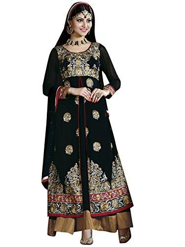 Vibes Women's Georgette Anarkali Style Unstiched Dress Material (DV161-5002_Black)