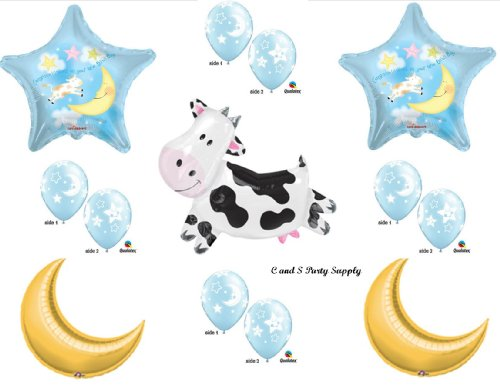 Hey Diddle Diddle Cow Jumped Over The Moon Baby Boy Shower Balloons Decorations Supplies