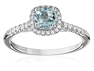 14k White Gold Aquamarine and Diamond (1/5cttw, H-I Color, I2-I3 Clarity) Cushion Halo Engagement Ring, Size 7 from The Aaron Group - HK DI