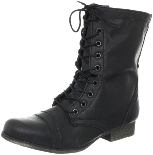 Madden Girl Women's Gamer Lace-Up Boot,Black Paris,7.5 M US