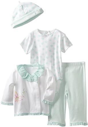 Little Me Baby-Girls Newborn Flutter 4 Piece Tmh Pant Set, Green, 3 Months