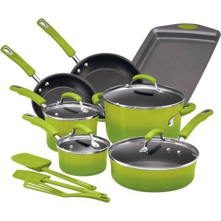 Hard Enamel Nonstick 14-Piece Cookware Set, Green Gradient (Cookware Set Green Gradient compare prices)