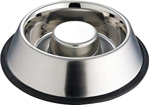 Indipets Extra Heavy One Piece Stainless Steel Non Tip - Anti Skid Health Care Slow Feeding Dish by Indipets
