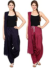 Mango People Products Patiala Salwars And Dupatta Set Combo(Free Size,Black & Wine Colour By Mango People Products)