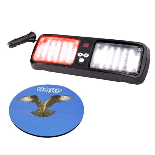 Hqrp Emergency Super Bright 96 Led Smd 3528 High Power Strobe Visor Red / White Flash Light For Warning And High Visibility Plus Hqrp Coaster