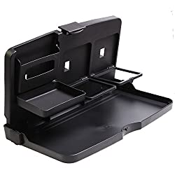 Services for You Folding Car Back Seat Travel Tray Food Drink Tray Holder Stand Desk Black