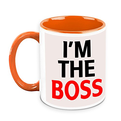 HomeSoGood I Am The Boss Quote White Ceramic Coffee Mug - 325 Ml