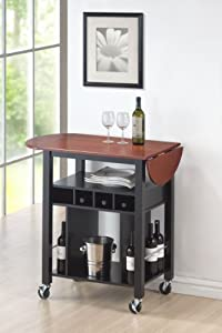Roundhill Cherry Drop Leaf Wine Serving Cart on Wheels, Black