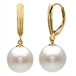 14k Yellow Gold 9-10mm Perfect Round White Cultured Freshwater Pearl High Luster, Leverback Earring AAA Quality. Perfect for Bridal and Wedding, Include Gift Box With Ribbon.