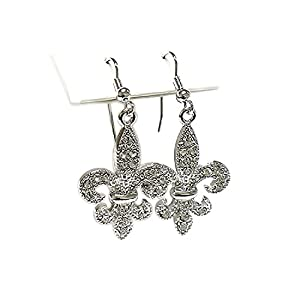 Clear Crystal Fleur De Lis Silvertone Drop Earrings