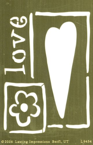 Brass 4x6 Embossing Template: Primitive Heart & Flower