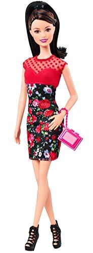 Barbie Fashionistas Raquelle Doll Flower Print Dress With Red Bodice 789264045056