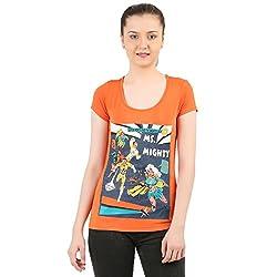 Menthol Womens Superhero Theme Printed Orange T-shirt