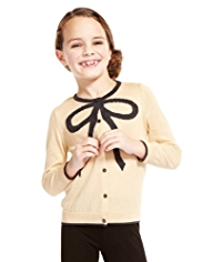 Cotton Rich Metallic Effect Bow Design Cardigan
